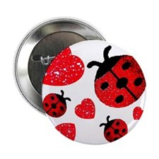 "Lady Bugs and Hearts Valentin 2.25"" Button"