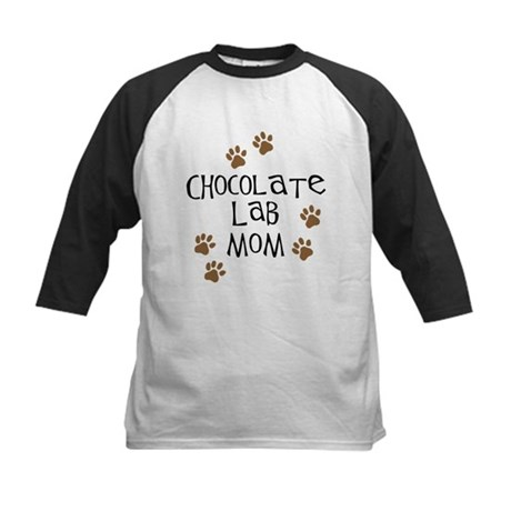 Chocolate Lab Mom Kids Baseball Jersey