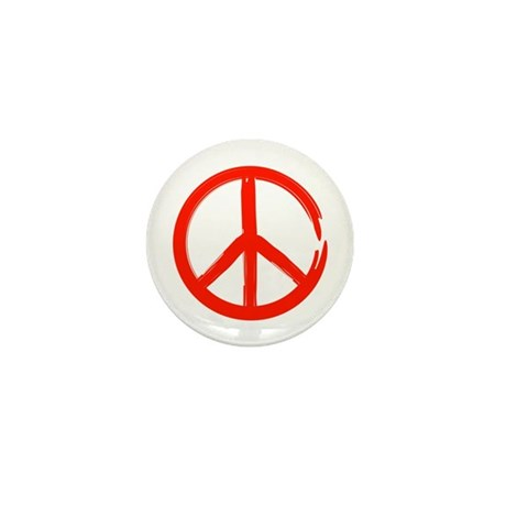 Red Peace sign Mini Button