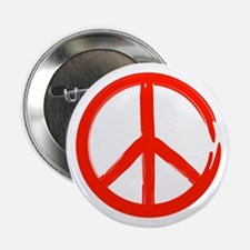 """Red Peace sign 2.25"""" Button"""