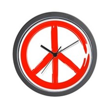 Red Peace sign Wall Clock
