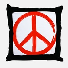 Red Peace sign Throw Pillow
