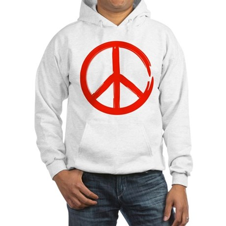 Red Peace sign Hooded Sweatshirt
