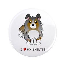 "Blue Merle Sheltie 3.5"" Button"