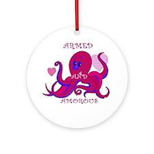 Amorous Octopus Valentine Ornament (Round)