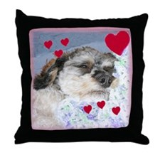 Snuggly Love-Pup Valentine Throw Pillow