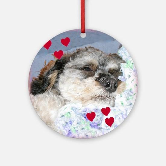 Snuggly Love Pup Valentine Ornament (Round)