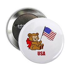 "USA Teddy Bear 2.25"" Button (10 pack)"
