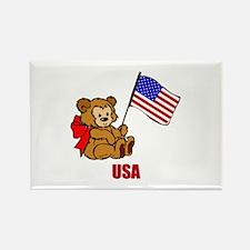 USA Teddy Bear Rectangle Magnet