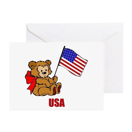 USA Teddy Bear Greeting Cards (Pk of 10)