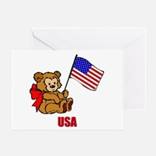 USA Teddy Bear Greeting Card
