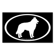 Belgian Sheepdog Sticker (wh on blk) (Rectangular)
