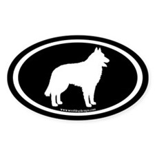 Belgian Sheepdog (white on black) Oval Decal