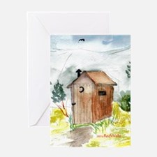 Outhouse Blank Greeting Card