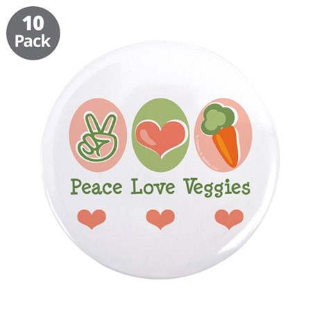"Peace Love Veggies Vegan 3.5"" Button (10 pack)"