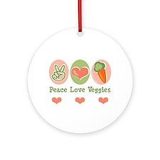 Peace Love Veggies Vegan Ornament (Round)
