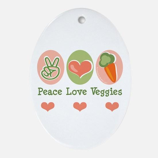 Peace Love Veggies Vegan Oval Ornament