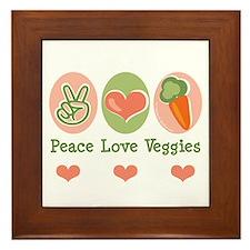 Peace Love Veggies Vegan Framed Tile