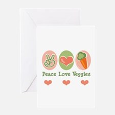 Peace Love Veggies Vegan Greeting Card
