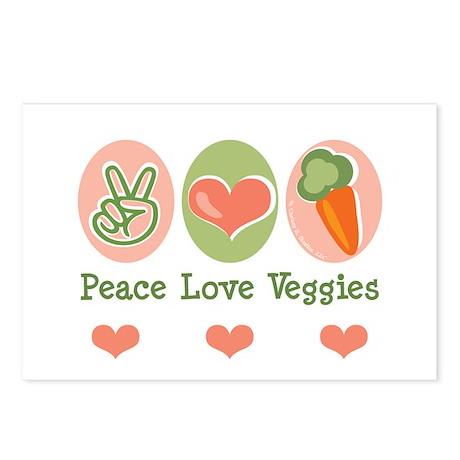 Peace Love Veggies Vegan Postcards (Package of 8)