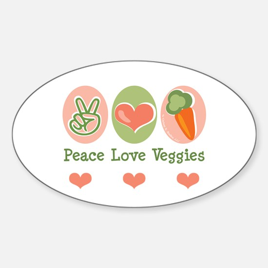 Peace Love Veggies Vegan Oval Decal