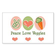 Peace Love Veggies Vegan Rectangle Decal
