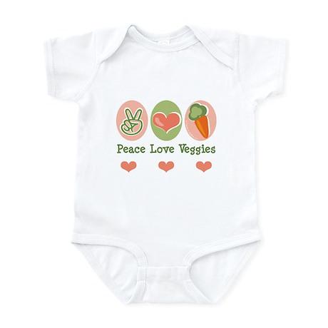 Peace Love Veggies Vegan Infant Bodysuit