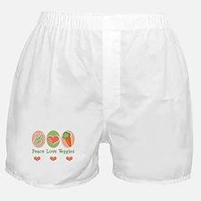 Peace Love Veggies Vegan Boxer Shorts