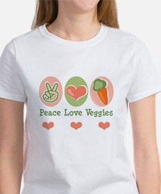 Peace Love Veggies Vegan Women's T-Shirt