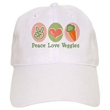Peace Love Veggies Vegan Baseball Cap