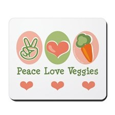 Peace Love Veggies Vegan Mousepad