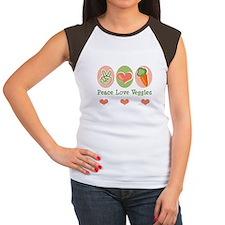 Peace Love Veggies Vegan Women's Cap Sleeve T-Shir