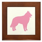 Pink Belgian Sheepdog Framed Tile
