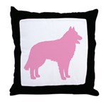 Pink Belgian Sheepdog Throw Pillow