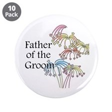 """Fireworks Father of the Groom 3.5"""" Button (10 pack"""