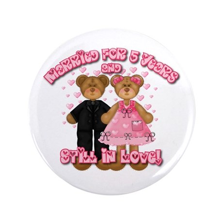 "5th Anniversay Teddy Bears 3.5"" Button"