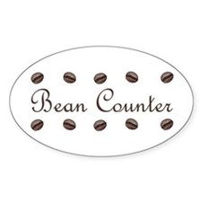 Bean Counter Coffee Beans Oval Decal