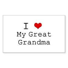 I Heart My Great Grandma Rectangle Decal