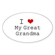 I Heart My Great Grandma Oval Decal