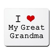 I Heart My Great Grandma Mousepad