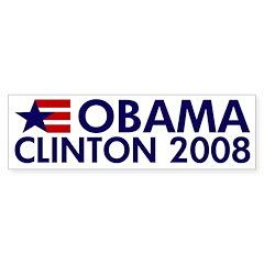 Obama Clinton 2008 Bumper Bumper Sticker