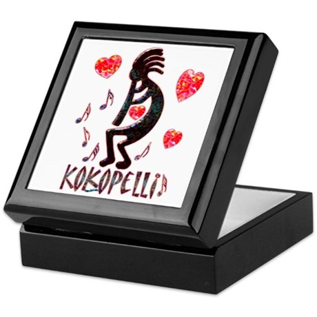 Kokopelli with Hearts Keepsake Box