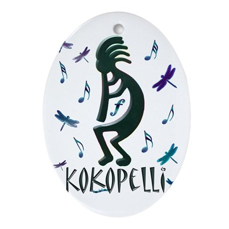 Kokopelli with Musical Notes Oval Ornament