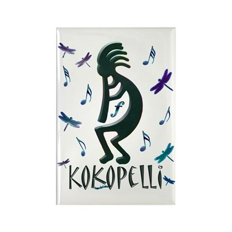 Kokopelli with Musical Notes Rectangle Magnet (100