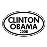 Clinton-Obama 2008 Oval Car Sticker