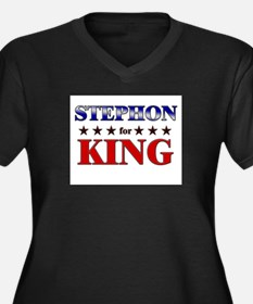 STEPHON for king Women's Plus Size V-Neck Dark T-S