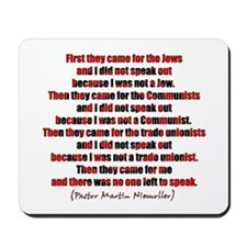 Pastor Niemoller Quote Mousepad