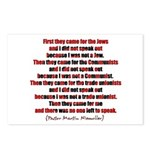 Pastor Niemoller Quote Postcards (Package of 8)