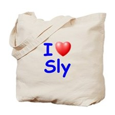 I Love Sly (Blue) Tote Bag