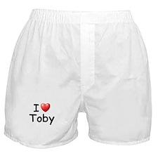 I Love Toby (Black) Boxer Shorts